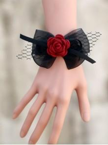 Concise Black Lace Bowknot Girls Lolita Wrist Strap