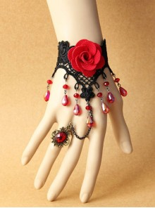 Sexy Black Lace Lady Red Rose Lolita Wrist Strap And Ring