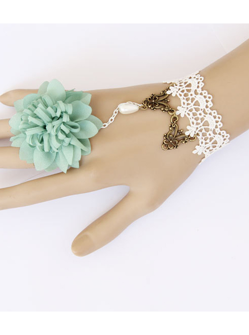 White Lace And Light Green Flower Lolita Wrist Strap And Ring