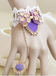 Classic White Lace Purple Bow Girls Lolita Wrist Strap