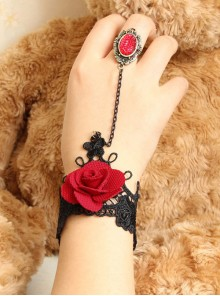 Gothic Rose Retro Lace Lolita Wrist Strap And Ring