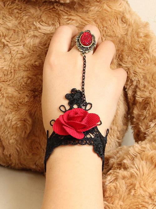 Gothic Rose Retro Lace Lolita Wrist Strap And Ring