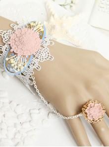 Elegant White Lace Pink Floral Lady Lolita Wrist Strap