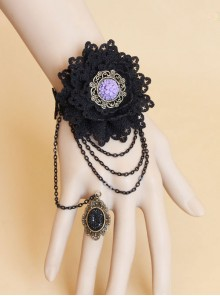 Black Lace Floral Girls Lolita Wrist Strap And Ring Suit