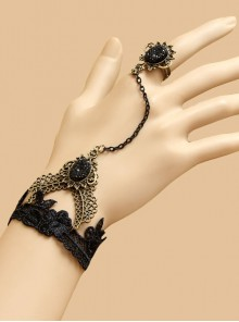 Gothic Black Lace Handmade Lolita Wrist Strap And Ring Suit
