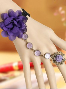 Retro Black Lace Purple Flower Lolita Bracelet And Ring Set