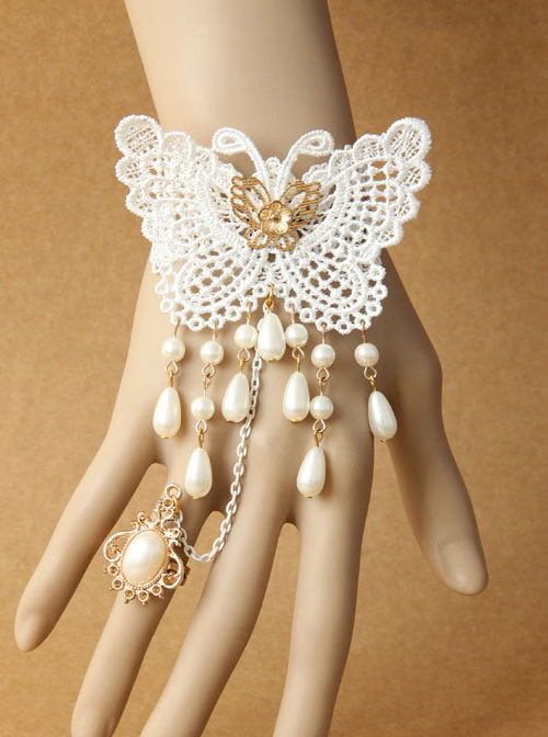Concise White Lace Butterfly Lolita Bracelet And Ring Set