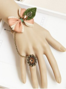 Tree Leaf Pink Bowknot Lolita Wrist Strap And Ring Set