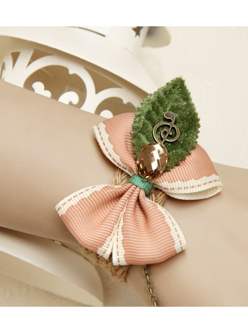 Tree Leaf Pink Bowknot Lolita Wrist Strap And Ring Set