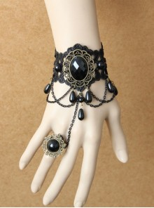 Gorgeous Black Lace And Black Gem Lolita Wrist Strap And Ring