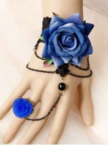 Elegant Blue Floral Girls Lolita Bracelet And Ring Set