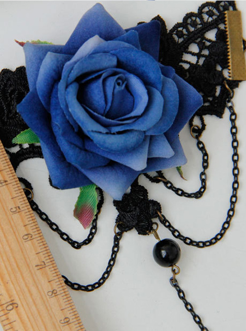 Elegant Blue Floral Girls Lolita Bracelet And Ring Set