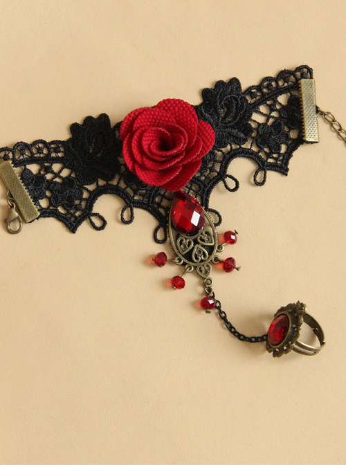 Concise Black Lace Red Flower Lolita Wrist Strap And Ring