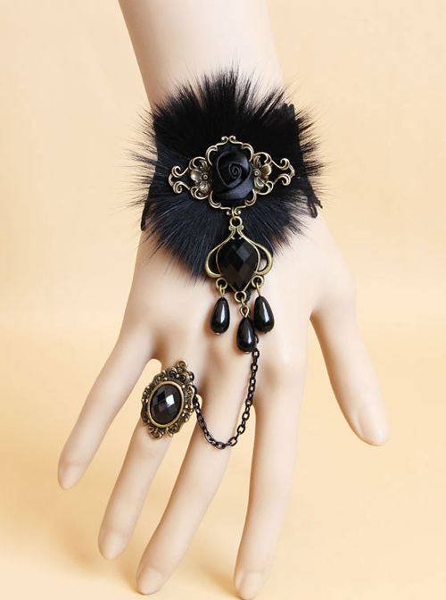 Dance Party Black Pearl Lace Pearl Lolita Wrist Strap And Ring