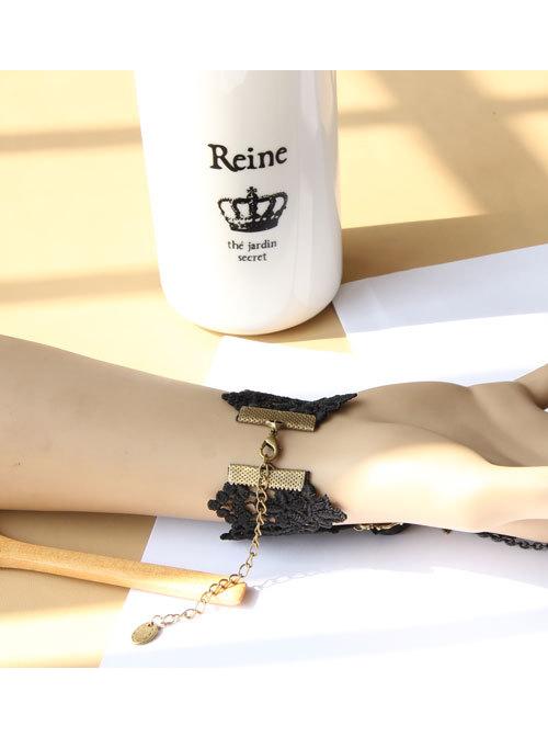 Punk Black Lace Retro Girls Lolita Wrist Strap