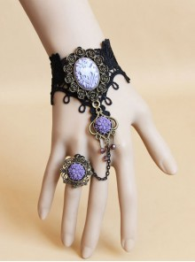 Black Lace Purple Gem And Flower Lolita Wrist Strap And Ring