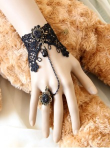 Retro Black Lace Chain Little Girls Lolita Wrist Strap And Ring