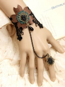 Concise Black Lace Fashion Lady Lolita Wrist Strap And Ring Set