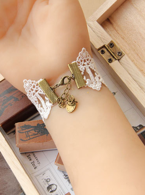 Cute White Lace Crucifix Pendant Lady Lolita Wrist Strap