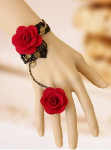 Gorgeous Lace Floral Lady Lolita Bracelet And Ring Set