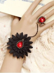 Black Lace Fashion Girls Lolita Bracelet And Ring Set