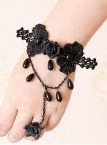 Concise Black Lace Girls Lolita Bracelet And Ring Set