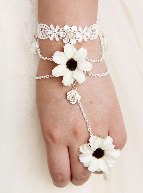 Classic White Lace Lady Lolita Bracelet And Ring Set