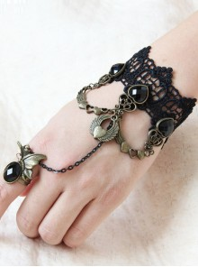 Black Lace Retro Punk Lolita Bracelet And Ring Set