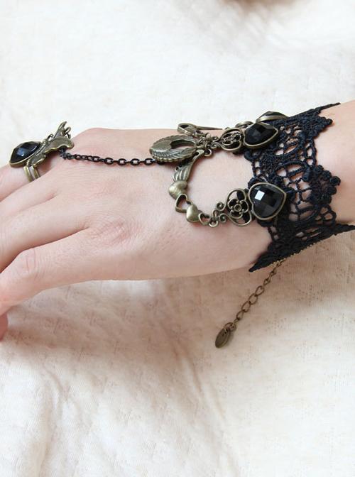 Black Lace Retro Punk Lolita Bracelet And Ring Set