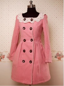Pink Long Sleeves Double-Breasted Lolita Overcoat