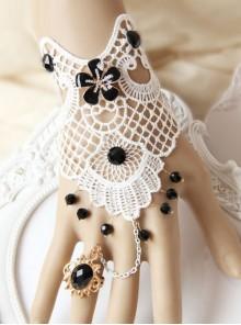 White Lace Black Bead Pendant Lolita Wrist Strap And Ring Set