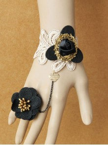 Gothic Black Flowers Lolita Wrist Strap And Ring Set