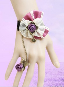Purple Bowknot And Rose Lolita Wrist Strap And Ring Set