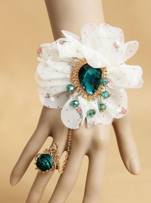 White Lace Chiffon Flowers Lolita Wrist Straps And Ring Set