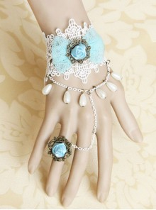 Bridal Retro Rose Lady Lolita Wrist Strap And Ring Set