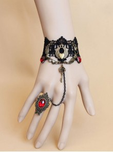 Vintage Black Lace Alloy Heart Shape Lolita Bracelet And Ring
