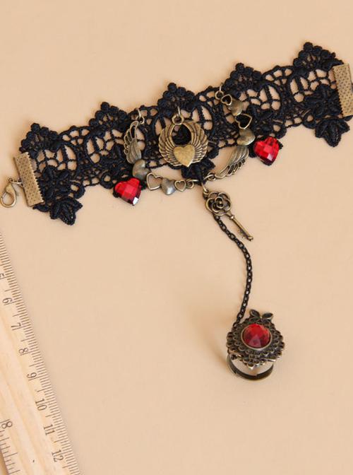 Vintage Black Lace Alloy Heart Shape Lolita Bracelet And Ring