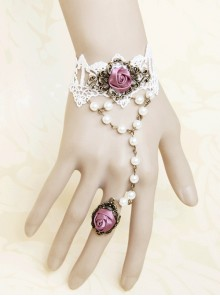 Cute Pink Rose Special Girls Lolita Wrist Strap And Ring