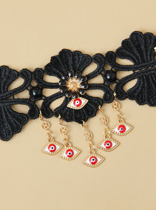 Black Lace Eyes Pendants Lolita Wrist Strap