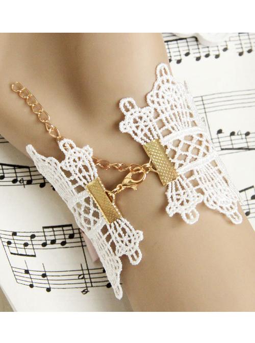 White Lace Cloth Flower Girls Lolita Wrist Strap