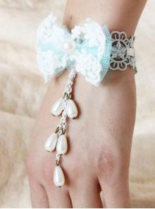 Cute Blue Bowknot Pearls Pendant Girls Lolita Wrist Strap