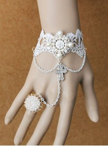 Palace Style Crucifix Pendant White Lace Lolita Wrist Strap And Ring Set