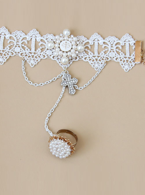 Palace Style Crucifix Pendant White Lace Lolita Wrist Strap And Ring Set