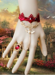 Red Lace Halloween Christmas Gothic Lolita Bracelet And Ring
