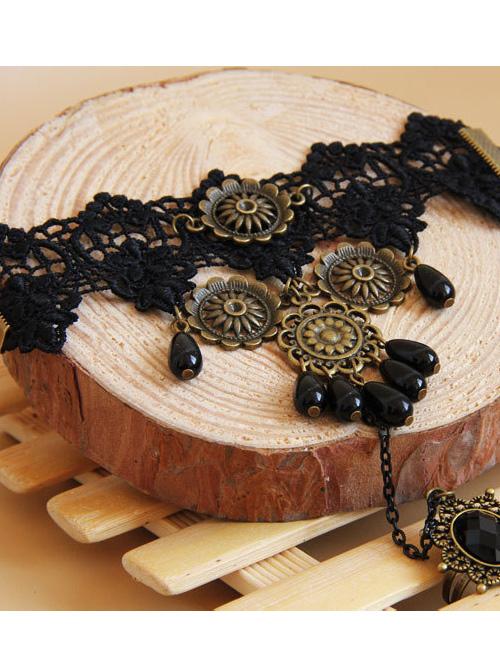 Vintage Black Lace Palace Dance Party Lolita Bracelet And Ring Set