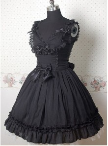 Black Sleeveless V-neck Frills Bow Lolita Dress