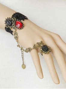 Black Lace Palace Style Gothic Lolita Wrist Strap And Ring Set