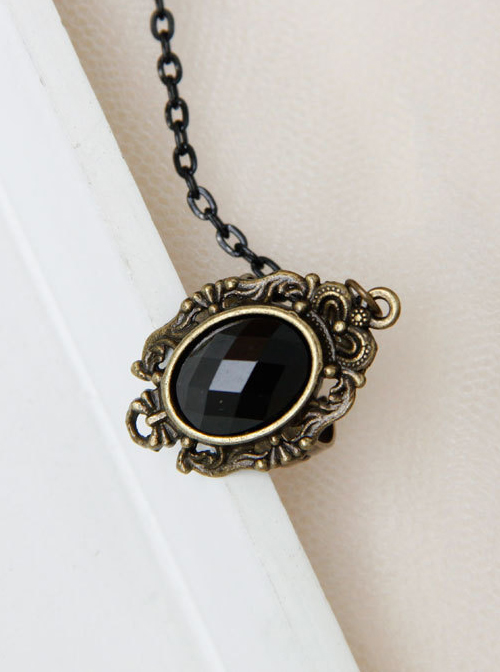 Baroque Court Style Black Flower Pearl Lace Lolita Bracelet And Ring Set