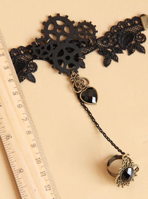 Punk Gear Heart Pendant Lolita Wrist Strap And Ring Set