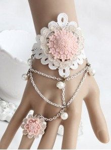 Pink Resin Flower White Lace Lolita Bracelet And Ring Set